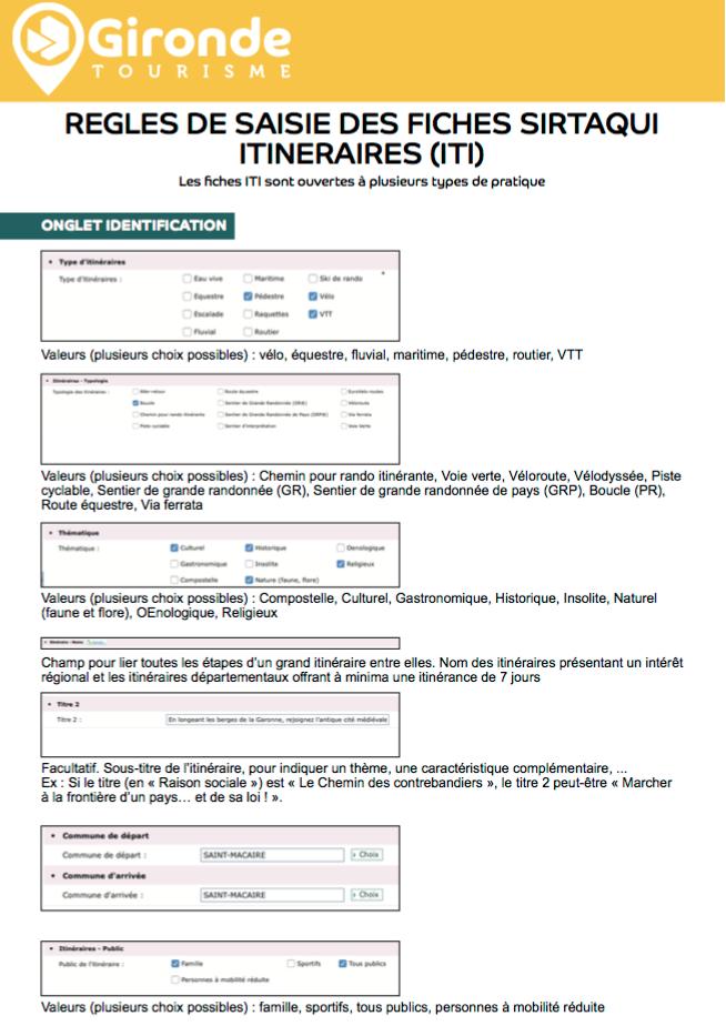 Règle de saisie des ITI