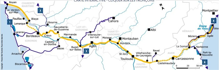 Carte Canal des 2 mers a velo