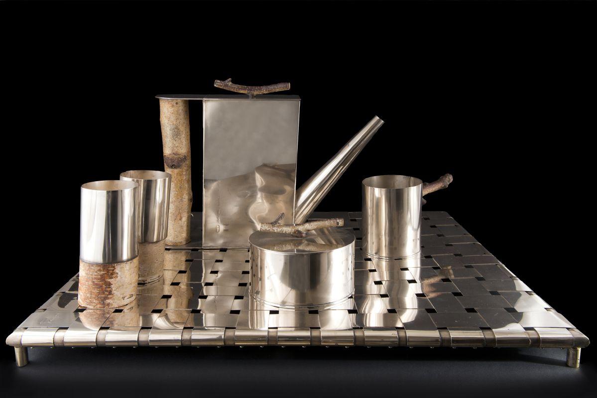 Andrea Branzi – Service à thé silver and wood, 1997