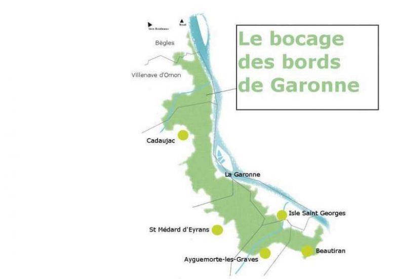 Carte des bocages des bords de Garonne
