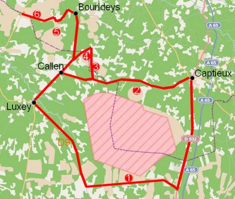 Itinéraire possible et points d'observation depuis Captieux