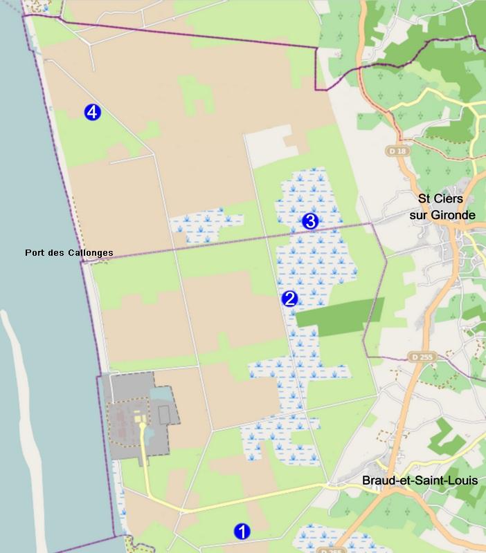 Points d'observation possibles sur les marais