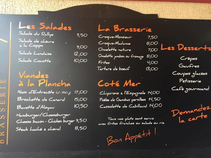 Restaurant Le Rallye Soulac – Menu