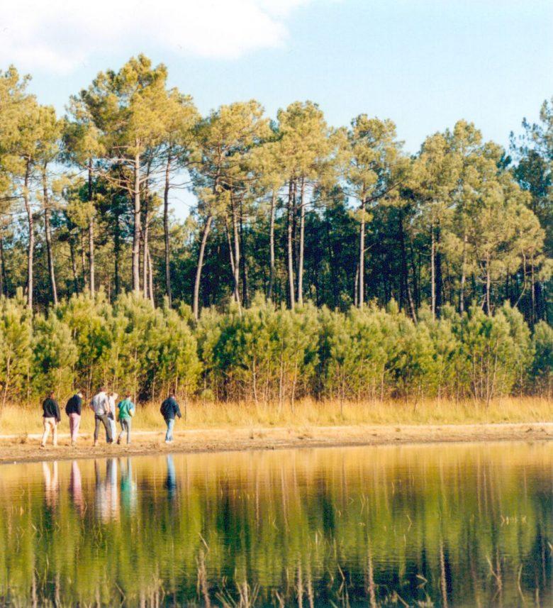 randonneurs en bord de lagune